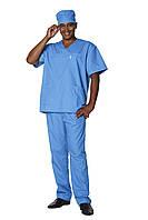 Костюм медицинский мужской 01 44-176 рубашечный синий-синий