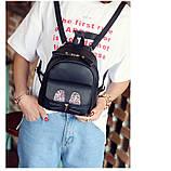 Рюкзак жіночий міні з блискітками Кіт (чорний), фото 5
