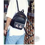 Рюкзак жіночий міні з блискітками Кіт (чорний), фото 7