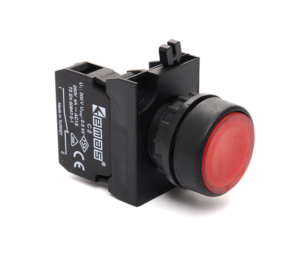 Кнопка нажимная круглая (1Н3) красная - пластик IP65