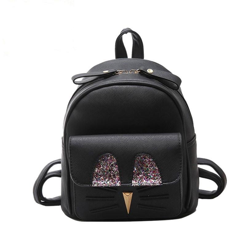 Рюкзак жіночий міні з блискітками Кіт (чорний)