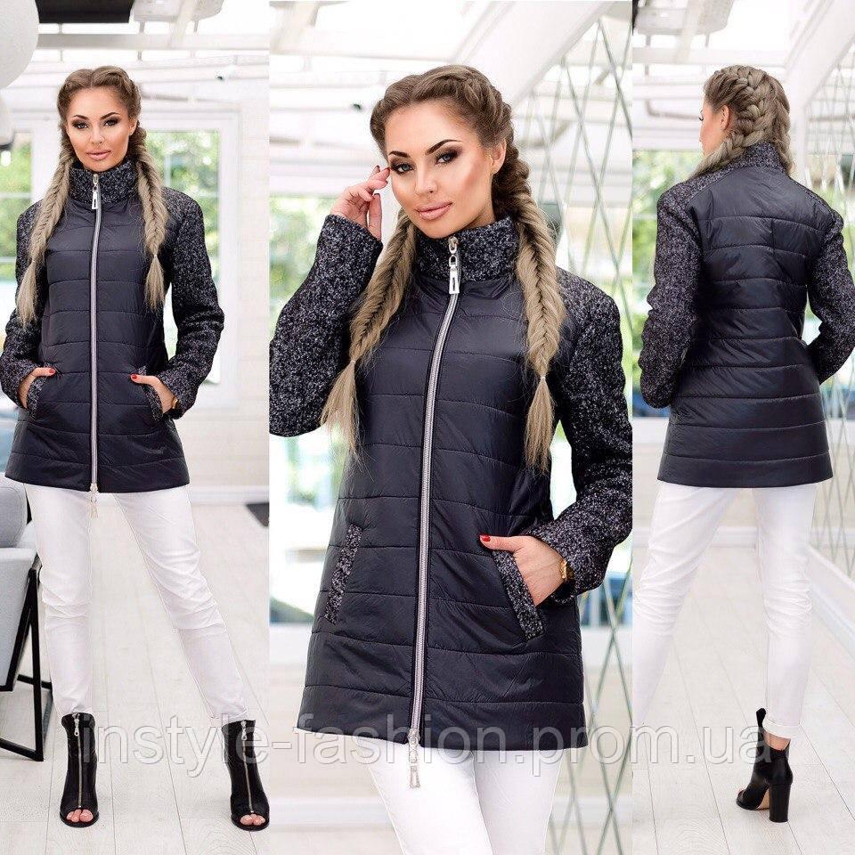 4142b5230c2 Демисезонное пальто ткань плащевка+букле наполнитель синтепон 200 до 58  размера цвет черный