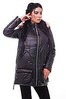 Женская зимняя теплая куртка с капюшоном и меховой опушкой 8541KK