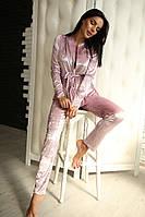 Женский бархатный костюм с кофтой на запах 8605JK