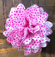 Купить бумажный помпон для оформления, 35 см. в розовый горошек