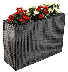 Напольный большой садовый горшок для цветов (искуственный ротанг) длина 84 см