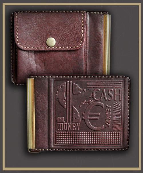 Зажим для денег кожаный с карманом для мелочи