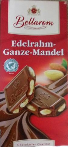 Шoколад молочный Bellarom Edelrahm Ganze Mandel, 200 г (Германия)