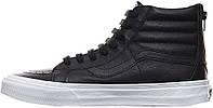 Мужские кеды Vans Reissue Zip Premium Leather Black, ванс, вансы