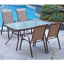 Комплект мебели садовой 4 места (4 стула + столик стекло)