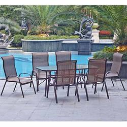 Набор мебели садовой 6 мест (6 стульев + столик из стекла)