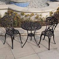 Комплект мебели садовой из метала (2 стула и круглый столик)