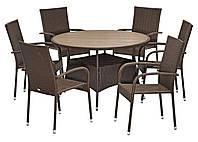 Комплект мебели садовой из искусственного ротанга коричневые (4 кресла и столик круглый)