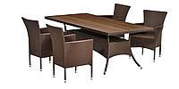 Большой комплект садовой мебели из искусственного ротанга коричневый  (4 кресла и большой  стол 2 метра)