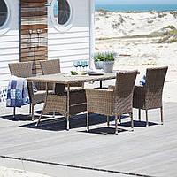 Комплект садовой мебели большой из искусственного  ротанга (4 кресла и  стол 2 метра)