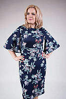 """Красивое женское платье с рукавами в форме колокола ткань """"кукуруза"""" 48, 50, 52, 54 размер батал"""