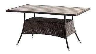 Садовый прямоугольный стол коричневый из стали и искусственного ротанга 150 см