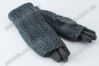Женские перчатки с вязкой серые