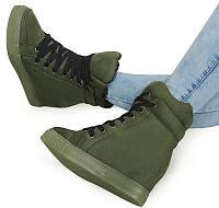 Женские сникерсы на шнуровке с Польши зелёного цвета, фото 1
