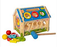 Деревянная игрушка Игра- домик, сортер (цифры), стучалка.