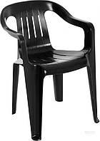 Садовое кресло черное из пластика  (для кафе и улиц)