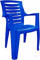 Садовое кресло прочное синее из пластика  (для кафе и улиц)