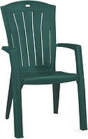 Садовое кресло с высокой спинкой  зеленое из пластика  (для кафе и улиц)