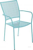 Садовое кресло из метала со спинкой и подлокотниками бирюзовое
