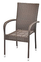 Садовый стул коричневый из искусственного ротанга