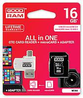 MicroSDHC 16GB UHS-I Class 10 GOODRAM + SD-adapter + OTG Card reader (M1A4-0160R11)