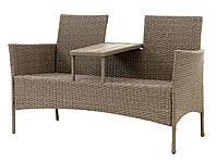 Садовый двухместный садовый диван со столиком серый плетенный, 138х61 см, выс. 81 см