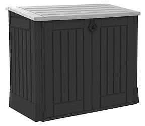 Садовый пластиковый ящик большой (сундук) черный для хранения