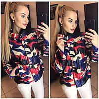 Молодежная женская куртка синтепон Камуфляж