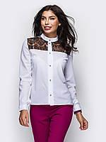 Стильна біла блузка з гіпюром Elis