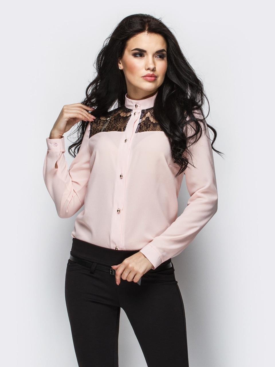 (XL / 50) Стильна персикова блузка з гіпюром Elis