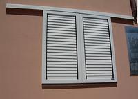 Металлические раздвижные ставни на окна с не поворотными ламелями