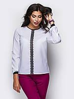 Жіноча біла блузка зі смужкою мережива Sidny