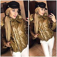 Молодежная куртка с меховым капюшоном склад бронза