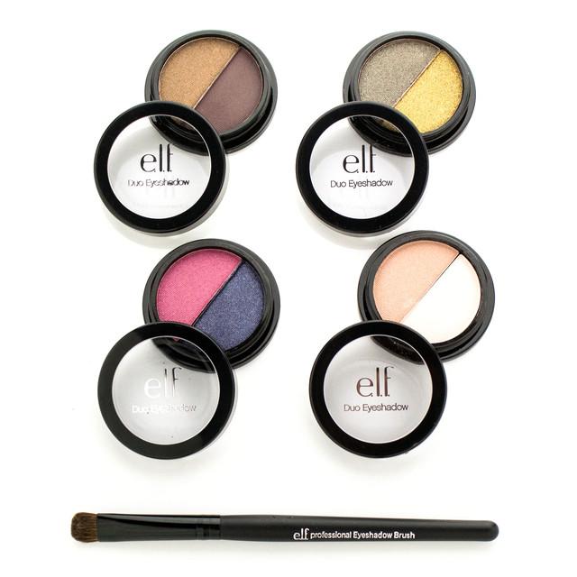 Набор тенейдля макияжа e.l.f. 4 Piece Duo Eyeshadow Set + Brush