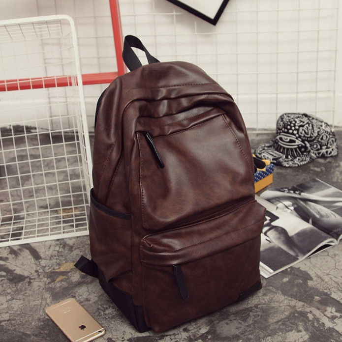 Великий чоловічий рюкзак шкіра ПУ + подарунок візитниця