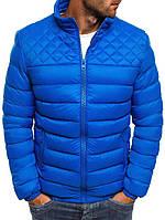 Мужская демисезонная куртка ромб голубая 026