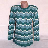 Ажурный свитер Волны, модные мятные оттенки, р. 42-44
