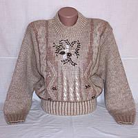 Мохеровый теплый свитер с вышивкой, р. 44