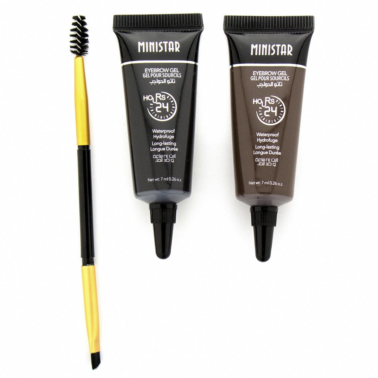 Набор водостойких гелей для бровей с кисточкой Ministar Eyebrow Gel 24 Hours
