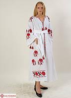 Белое вышитое платье длинное в пол в украинском стиле с поясом