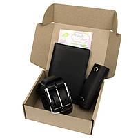 Подарочный набор №14 (черный): Ремень мужской + ключница + чехол 4 в 1