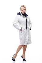 Утепленное пальто большого размера на весну, светлое (стальной цвет), размер 46-60 , фото 2
