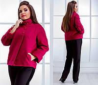 Женское короткое пальто с воротником стоичкой (БАТАЛ)