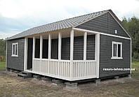 Дачный домик 9м х 6м.Фальшбрус с террассой, фото 1