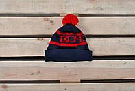Молодежная зимняя шапка с бубоном, красная с синим Dope реплика